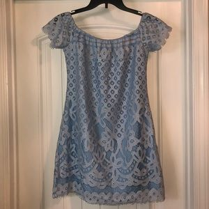 NWT Light Blue Lace Off The Shoulder Dress